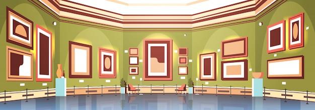 Moderne kunstgalerie in museuminterieur creatieve hedendaagse schilderijen kunstwerken of exposities