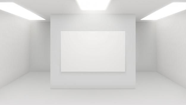 Moderne kunstgalerie interieur. architecturale illustratie van museumzaal. expositie ruimte met minimale witte muren.