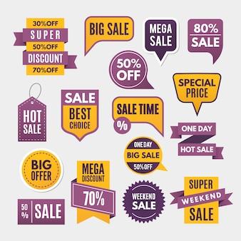 Moderne labels, linten en tags voor reclame