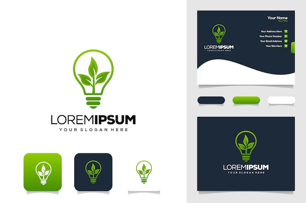 Moderne lamp en leafe logo-ontwerp visitekaartje