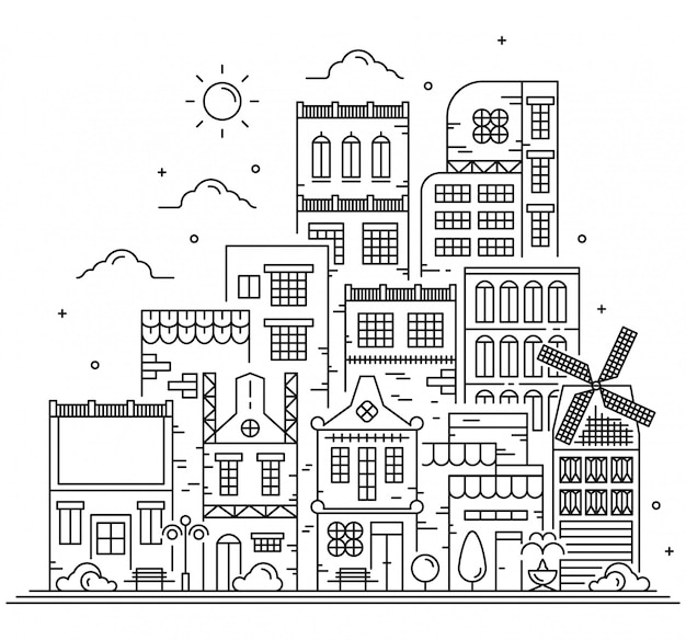 Moderne landschap stadslijn