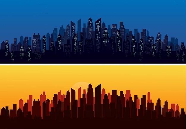 Moderne landschapsachtergronden van de stadshorizon