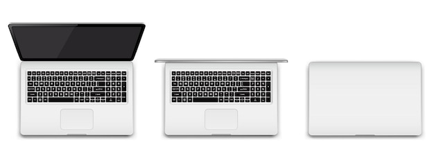Moderne laptop volledig geopend gedeeltelijk geopend en gesloten