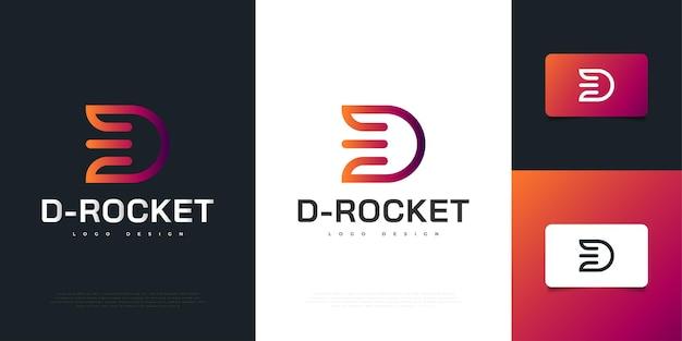 Moderne letter d logo design met rocket concept in kleurrijke stijl. d symbool voor uw bedrijf en bedrijfsidentiteit