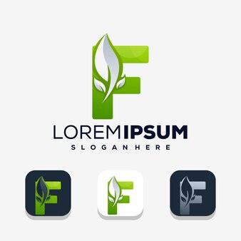 Moderne letter f met leafe logo-sjabloon
