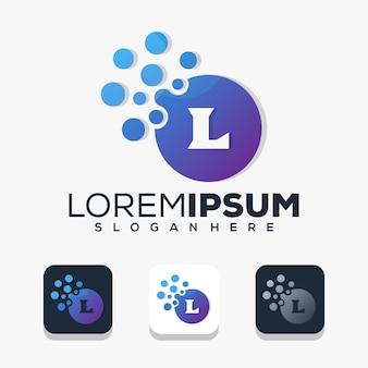 Moderne letter l met stip-logo-ontwerp