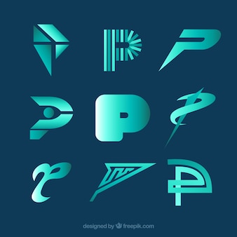 Moderne letter p logo collecti
