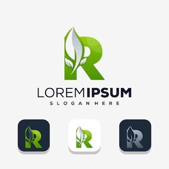 Moderne letter r met leafe-logo-ontwerp