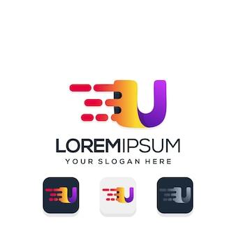 Moderne letter u met tech logo-ontwerp