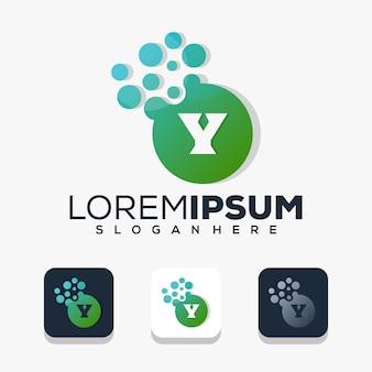 Moderne letter y met stip-logo-ontwerp