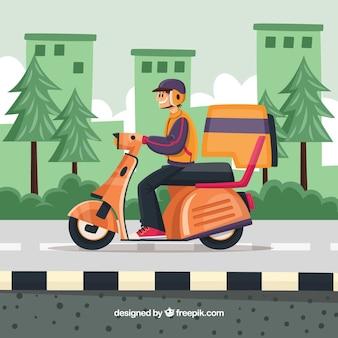 Moderne levering man op scooter