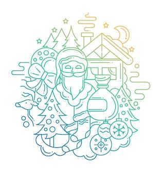 Moderne lijn platte ontwerp kerstsamenstelling en met een kerstman - kleurverloop