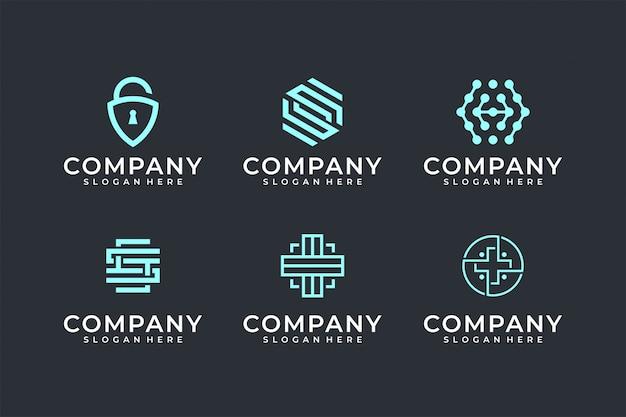 Moderne line art logo set-bundel