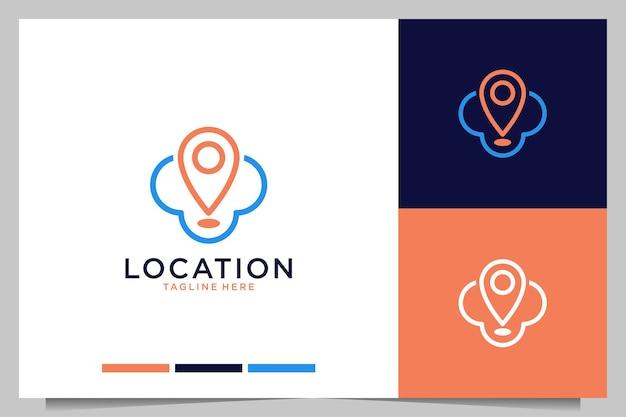 Moderne locatie met logo-ontwerp met wolkenlijnkunst