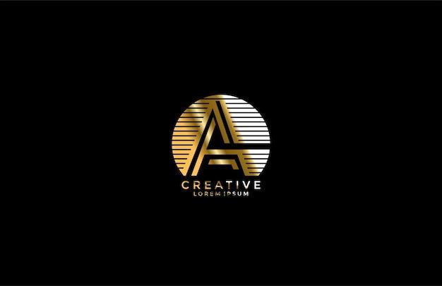 Moderne logo letter a lineaire streep afgerond goud