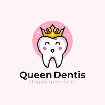 Moderne logo's van koningin tandheelkundige of tandarts schattig karakter voor kliniek logo sjabloon