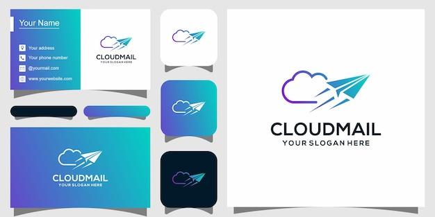 Moderne logotypesjabloon voor cloudhosting en visitekaartje