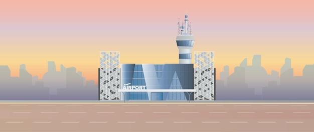 Moderne luchthaven. landingsbaan. luchthaven in een vlakke stijl. afgetekend door de stad. illustratie
