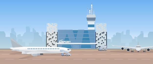 Moderne luchthaven. landingsbaan. vliegtuig op de startbaan. luchthaven in een vlakke stijl. stad silhouet. illustratie