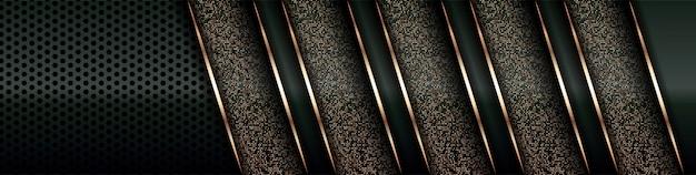 Moderne luxe achtergrond overlappende laag op donkergroene en schaduw zwarte ruimte met abstracte stijl lijn gouden elementendecoratie