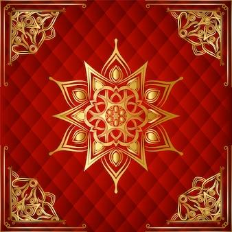 Moderne luxe decoratieve dacorative mandala achtergrond met gouden arabesque achtergrond voor gebruik banner, frame, bloemen, islamitisch, wieden kaart, boekomslag, hoek, hoekframe