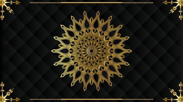 Moderne luxe gouden mandala ontwerp met zwarte achtergrond