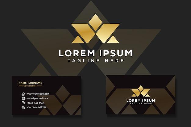 Moderne luxe letter w en een logo, driehoek ster logo met visitekaartje