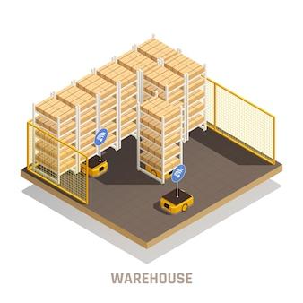 Moderne magazijn volledig geautomatiseerde isometrische illustratie