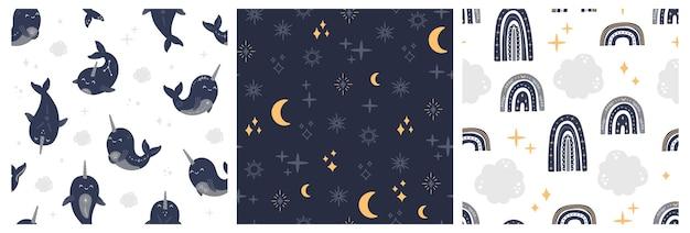 Moderne magische walvis en regenbogen naadloze patronen set, hekserij en mystieke hemelse narwallen collectie. astrologie zeedieren, ster, maan en sterrenbeeld boho-stijl, trendy vectorillustratie