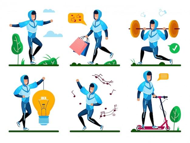 Moderne man actieve leven platte vector concepten set