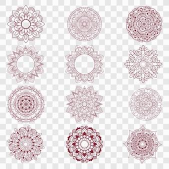 Moderne mandala-ontwerpen ingesteld