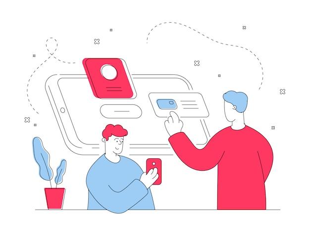 Moderne mannen samen met behulp van smartphones. platte lijn illustratie