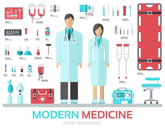 Moderne medische apparatuur in platte ontwerp achtergrond concept