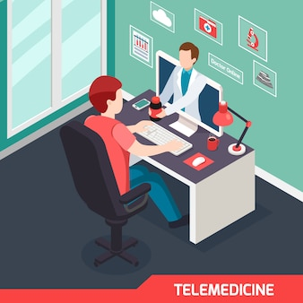 Moderne medische technologie isometrische samenstelling met alternatieve telegeneeskunde dienst virtuele arts online privé consult recept illustratie