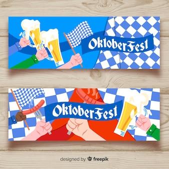 Moderne meest oktoberfest banners met handen