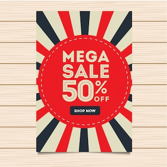 Moderne mega verkoop banner en flyer illustratie