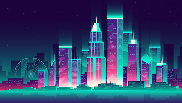 Moderne megapolis 's nachts. gloeiende gebouwen en reuzenrad in cartoon-stijl, neon kleuren