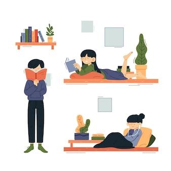 Moderne mensen die moderne activiteiten binnenshuis doen