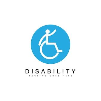 Moderne mensen met een handicap ondersteunen logo
