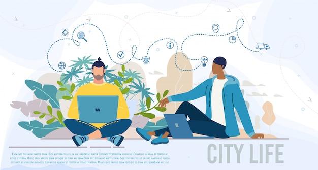Moderne mensen stadsleven platte vector webbanner