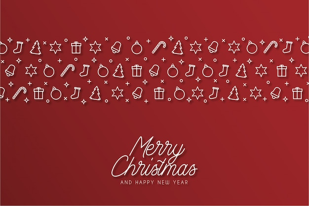 Moderne merry christmas-achtergrond met pictogrammen