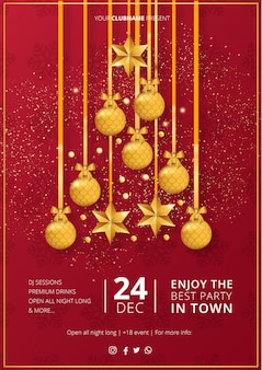 Moderne merry christmas party poster sjabloon