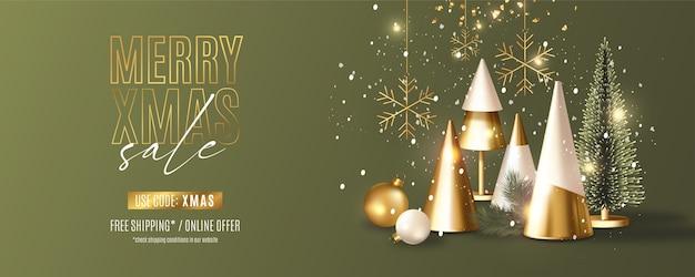 Moderne merry christmas sale-banner met realistische 3d-samenstelling van kerstobjecten