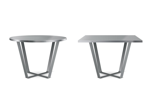 Moderne metalen tafels met rond en vierkant blad