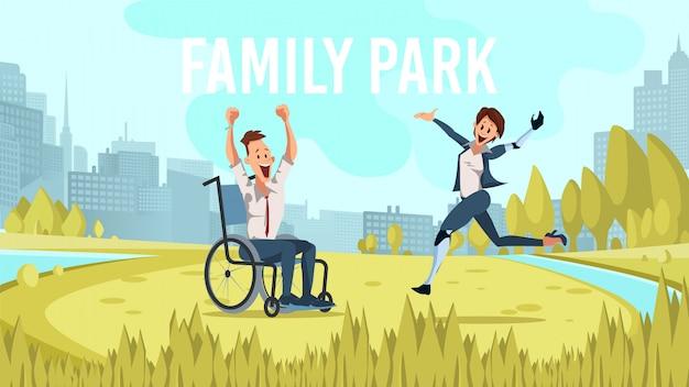 Moderne metropolis family park flat vector banner
