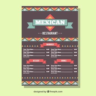 Moderne mexicaanse voedsel menusjabloon