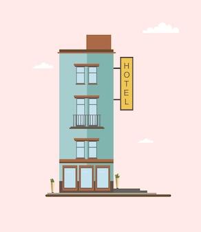 Moderne mid-rise hotelgebouw zijaanzicht. kleurrijke platte vectorillustratie.