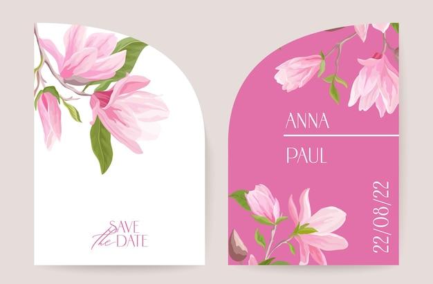 Moderne minimale art deco bruiloft vector uitnodiging. magnolia botanische tropische boho kaart, lente bloemen poster, floral frame sjabloon. save the date gebladerte trendy design, luxe brochure