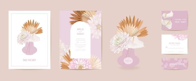 Moderne minimale art deco bruiloft vector uitnodiging set. boho dahlia, pampagras, lunaria kaartsjabloon. tropische bloemen, palmbladeren poster, bloemen frame. save the date trendy design, luxe brochure