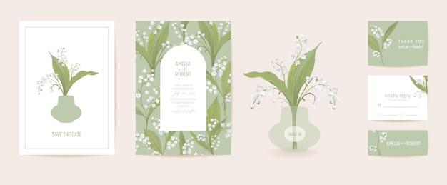 Moderne minimale art deco bruiloft vector uitnodiging set. boho lelie bloem kaartsjabloon. lente pastel bloemen poster, bloemen frame. save the date trendy design, luxe brochure